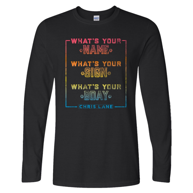 Chris Lane Long Sleeve What's Your Name Black Tee